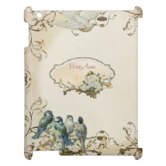 名前入りな魅了された森林鳥の鳩の渦巻 iPadケース