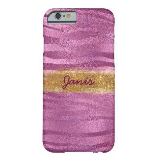 名前入りな魅力のピンクの光沢があるグリッターの場合 BARELY THERE iPhone 6 ケース