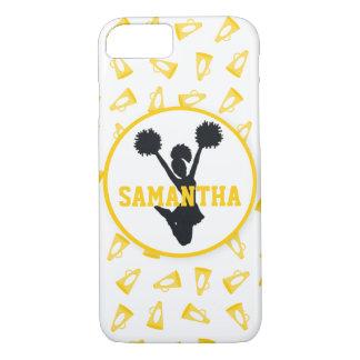 名前入りな黄色いメガホンおよびチアリーダー iPhone 7ケース
