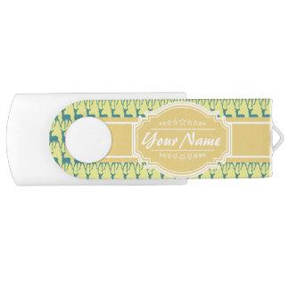 名前入りな黄色およびティール(緑がかった色)のシカパターン| N#1 USBフラッシュドライブ