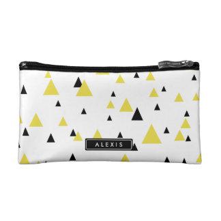 名前入りな黄色及び黒く幾何学的なパターン コスメティックバッグ