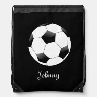 名前入りな黒いサッカーのフットボール ナップサック