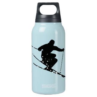 名前入りな黒いシルエットの雪のスキーヤー 断熱ウォーターボトル