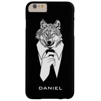 名前入りな黒いタキシードを持つおもしろいなヒップスターのオオカミ BARELY THERE iPhone 6 PLUS ケース