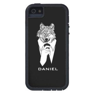 名前入りな黒いタキシードを持つおもしろいなヒップスターのオオカミ iPhone SE/5/5s ケース