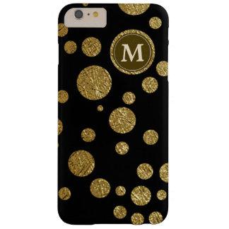 名前入りな黒の水玉模様の金ゴールド BARELY THERE iPhone 6 PLUS ケース