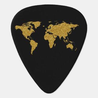 名前入りな黒の金世界地図 ギターピック