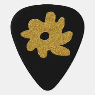 名前入りな黒の金花 ギターピック