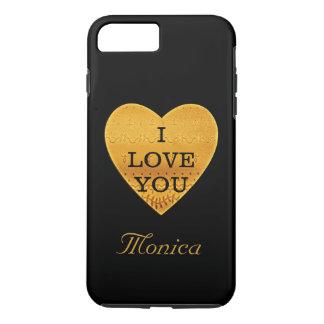 名前入りな黒及び金ゴールドのハートI愛 iPhone 8 PLUS/7 PLUSケース