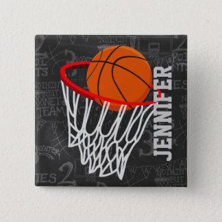 名前入りな黒板のバスケットボールおよびたが 缶バッジ