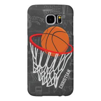 名前入りな黒板のバスケットボールおよびたが SAMSUNG GALAXY S6 ケース