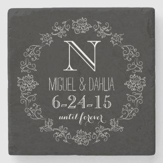 名前入りな黒板のモノグラムの結婚式の日付 ストーンコースター