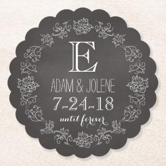 名前入りな黒板のモノグラムの結婚式の日付 ペーパーコースター
