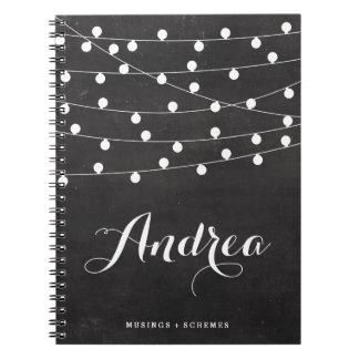 名前入りな黒板の白いひもライト ノートブック