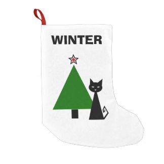 名前入りな黒猫 スモールクリスマスストッキング