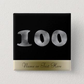 名前入りな100th誕生日の銀|第100 缶バッジ