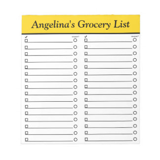 """名前入りな5.5"""" x 6""""黄色い食料雑貨のリストのメモ帳 ノートパッド"""
