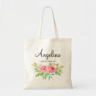 名前入りな6シックな花の新婦付添人 トートバッグ