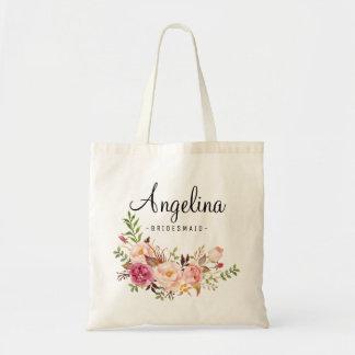 名前入りな6素朴な花の新婦付添人 トートバッグ