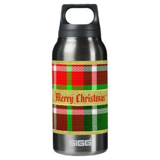 """名前入りな""""メリークリスマス""""のタータンチェックパターン 断熱ウォーターボトル"""
