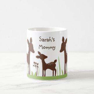 """名前入りな""""ヤナギシカか自然または子鹿家族""""のマグ コーヒーマグカップ"""