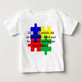 """名前入りな""""姉妹""""の自閉症のTシャツの乳児 ベビーTシャツ"""