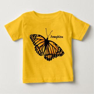名前入りな(昆虫)オオカバマダラ、モナークのベビーのワイシャツ- ベビーTシャツ