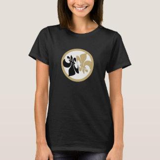 名前入りな(紋章の)フラ・ダ・リの陰陽の黒の金ゴールド Tシャツ