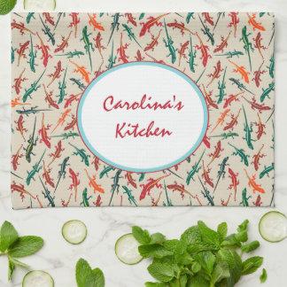 名前入りなAnoleのトカゲのDitsyカラフルなパターン キッチンタオル