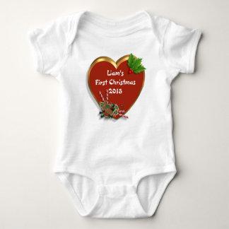 名前入りなBabysの初めてのクリスマスの休日のTシャツ ベビーボディスーツ