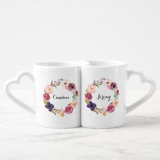 名前入りなBohoの素朴な水彩画の花のリース ペアカップ