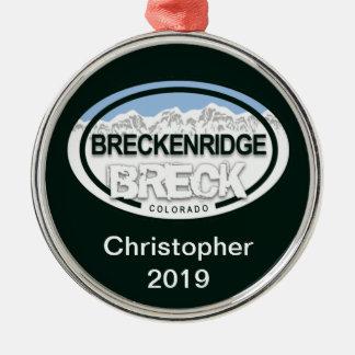 名前入りなBreckenridgeコロラド州のラベルのオーナメント メタルオーナメント