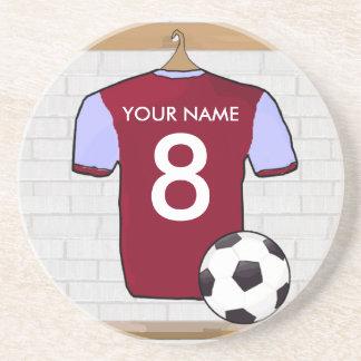 名前入りなClaretの青いフットボールのサッカージャージー コースター