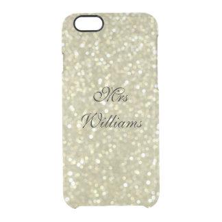 名前入りなGlittery Gold夫人のiPhone 6/6sの場合 クリアiPhone 6/6Sケース