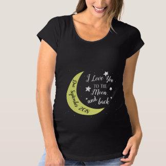 名前入りなI愛月および背部への マタニティTシャツ