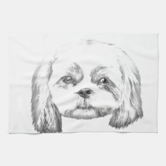 名前入りなI愛私のシーズー(犬)のTzuの鉛筆のスケッチ キッチンタオル