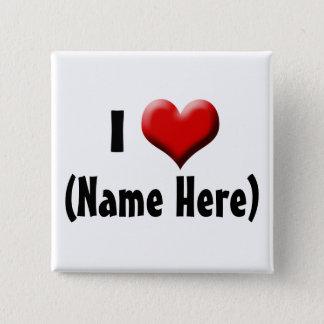 名前入りなI愛… 一流のバレンタインデー 5.1CM 正方形バッジ