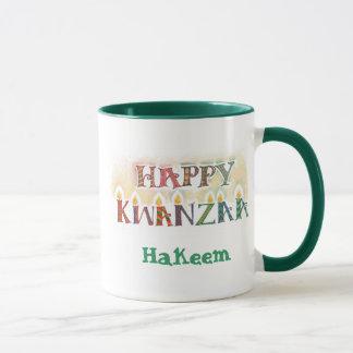 名前入りなKwanzaaの幸せなマグ- マグカップ