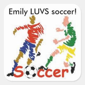 名前入りなLUVSのサッカーのステッカー スクエアシール