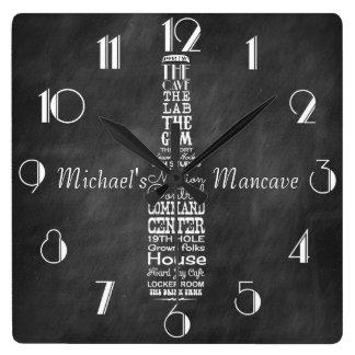 名前入りなMancaveの黒板のレトロのチョーク スクエア壁時計