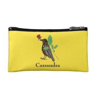 名前入りなOaxacanのカラス及びバラのメキシコ民芸 コスメティックバッグ