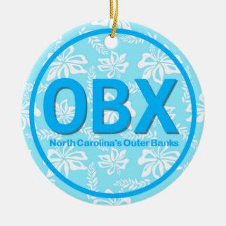 名前入りなOBX外銀行NC青のクリスマス セラミックオーナメント