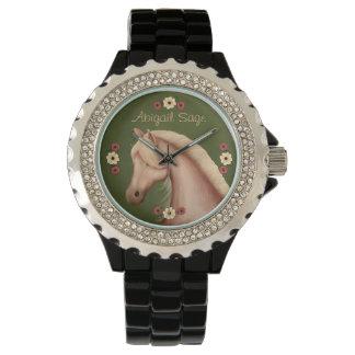 名前入りなPalominoの馬のラインストーンの腕時計 腕時計