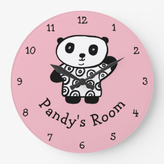 名前入りなPandyパンダ ラージ壁時計