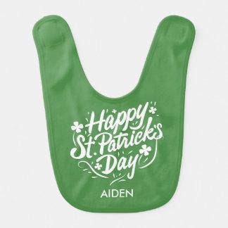 名前入りなSt patricks dayの幸せなアイルランドのシャムロック ベビービブ