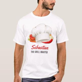 名前入りなTシャツのシェフの台所グリルのマスター Tシャツ