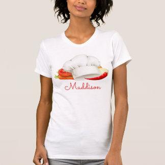 名前入りなTシャツのシェフの台所グルメ向きの調理師 Tシャツ