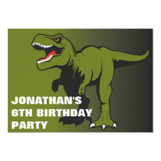 名前入りなTレックスの誕生日の招待状 カード