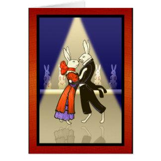 名前入りなv2を踊るヴィンテージのロマンチックなウサギ カード