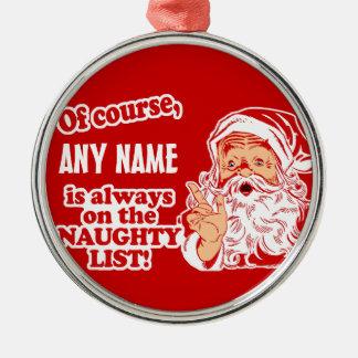 名前入り一流のクリスマス シルバーカラー丸型オーナメント
